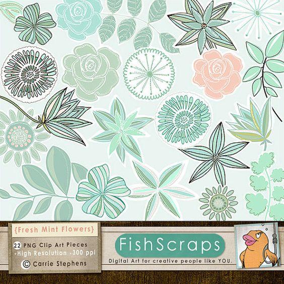 Mint Green Flower Clip Art, Aqua, Teal & Peach, Modern Floral Rose.