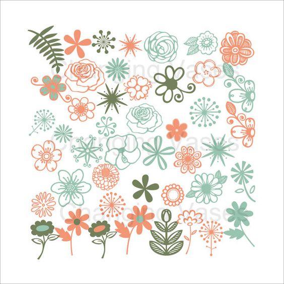 Téléchargement numérique fleurs vert pêchers Teal Floral fond.
