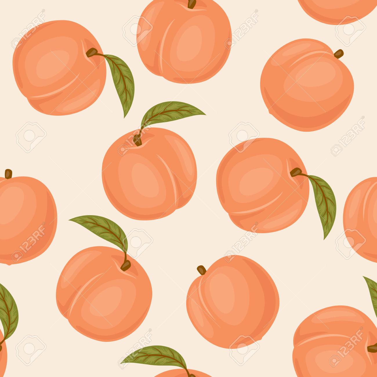 Peach Seamless Pattern. Peach Vector Wallpaper. Peaches With.
