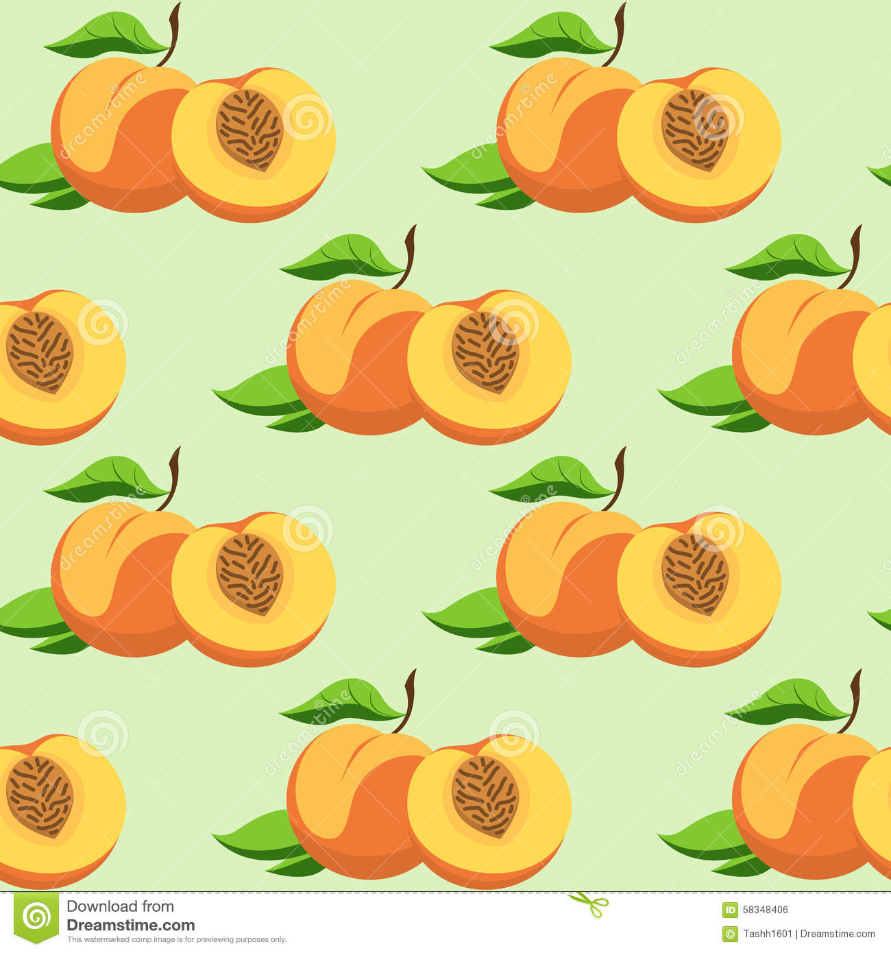 Fruit And Leaves Of Peach Stock Vector.