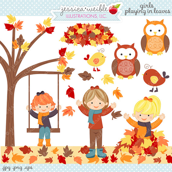 Girls Playing in Leaves Cute Digital Clipart.