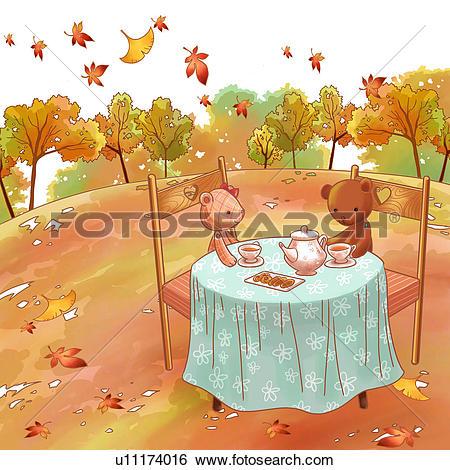 Stock Illustration of teddy bear, tree, chair, fallen leaves.