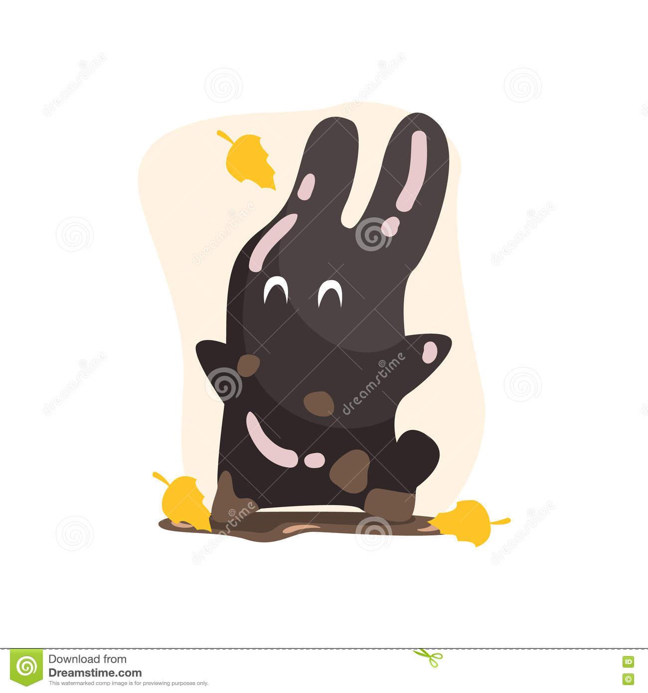 Black Tar Jelly Rabbit Shape Monster Smiling Under Falling Yellow.