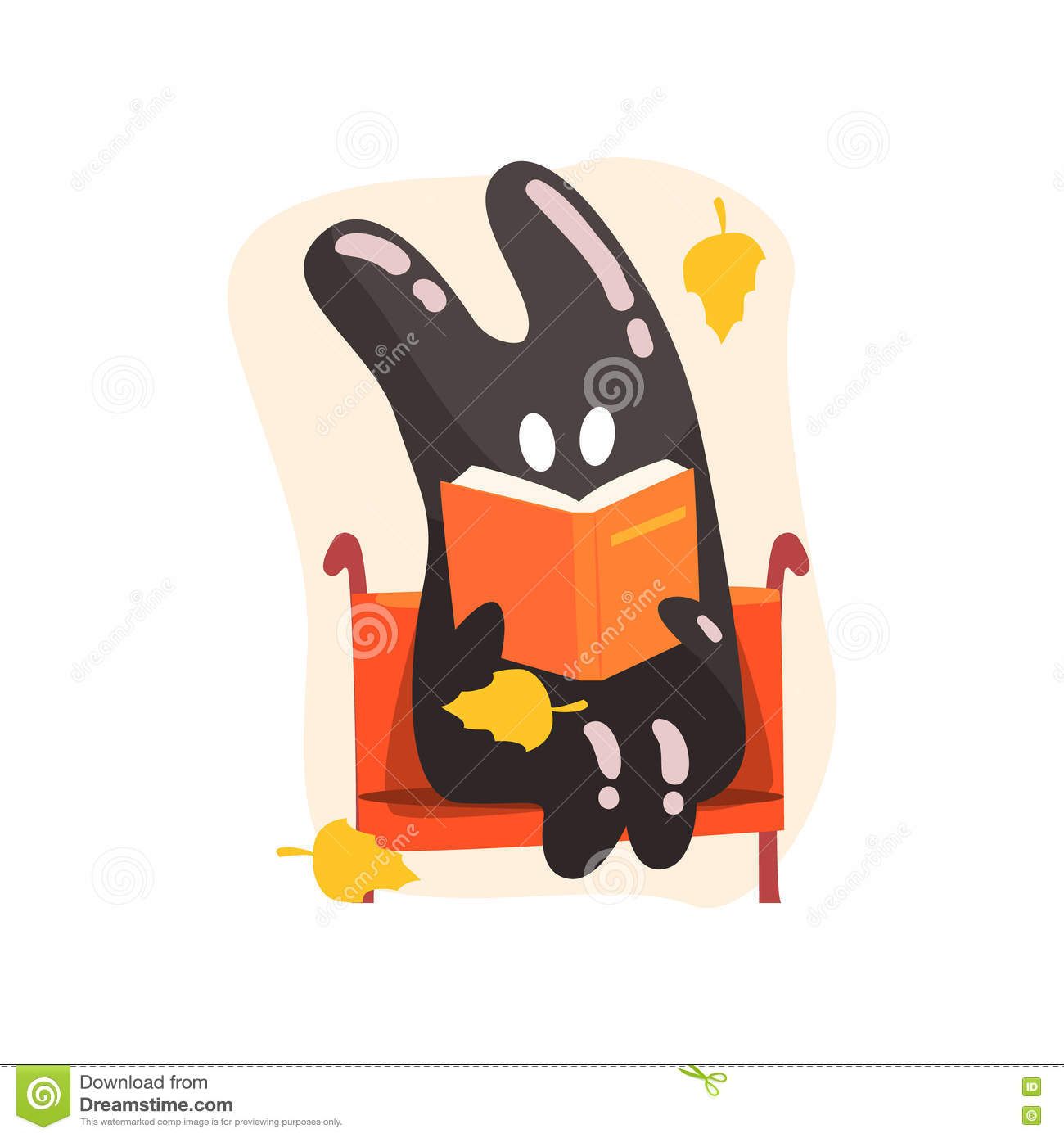 Black Tar Jelly Rabbit Shape Monster Reading A Book On The Bench.