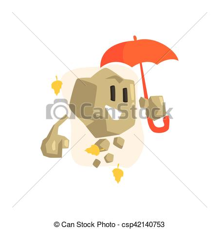 Clipart Vector of Rock Golem Asteroid Monster With Orange Umbrella.