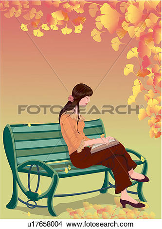 Drawings of ginkgo, leaves, outdoors, human, bench, landscape.