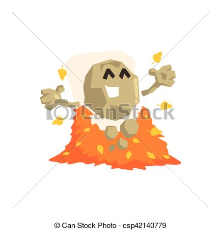 Vectors Illustration of Happy Rock Golem Asteroid Monster Playing.