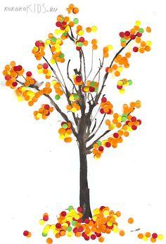 Splatter Paint Fall Tree Craft.