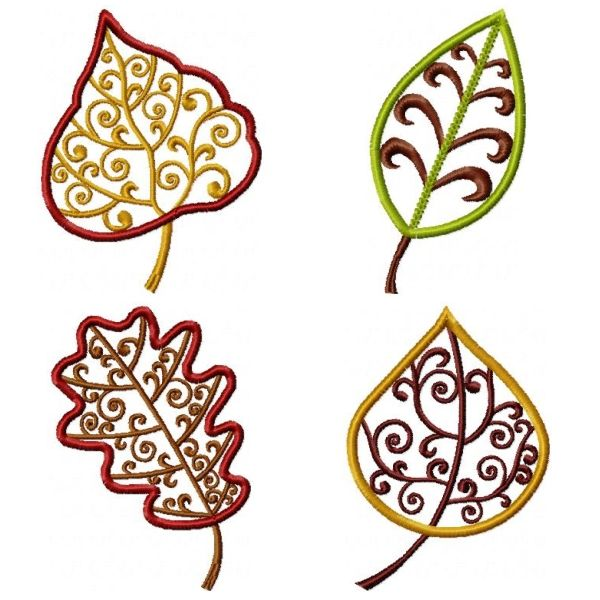 "Free Fall Leaf Embroidery Design : ""Elegant Leaves""."