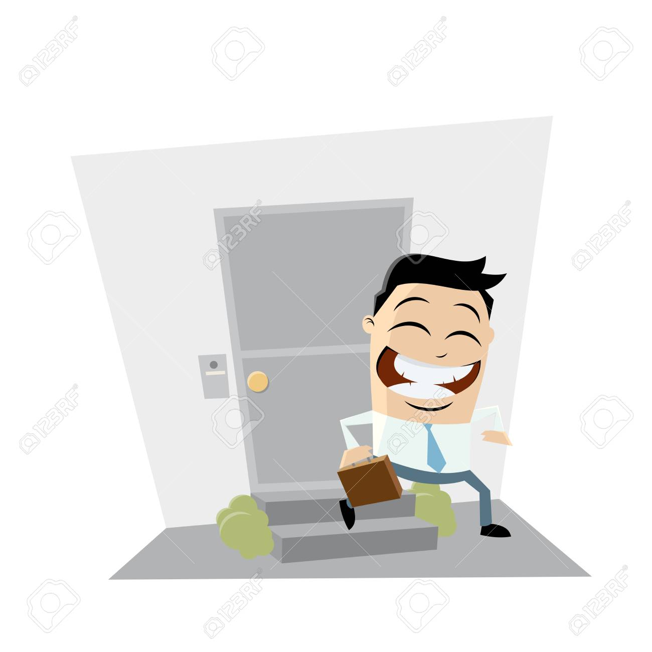 Businessman leaving home clip art vector illustration..