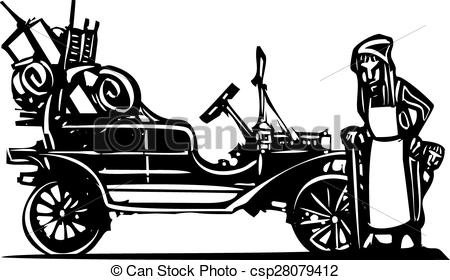Vector Clip Art of Old woman Leaving Home.