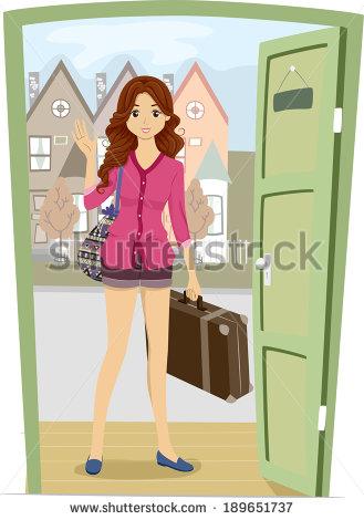 Girl Leaving House Clipart.