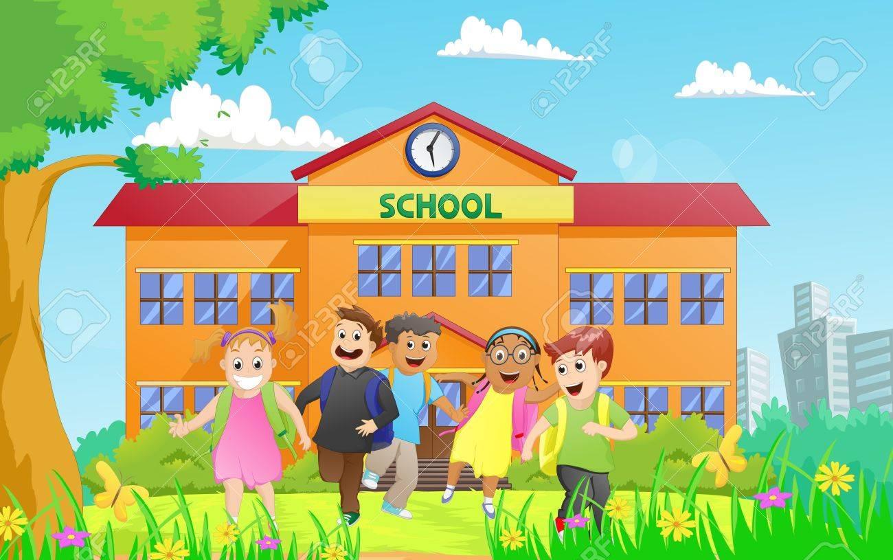 group of elementary school kids leaving school.