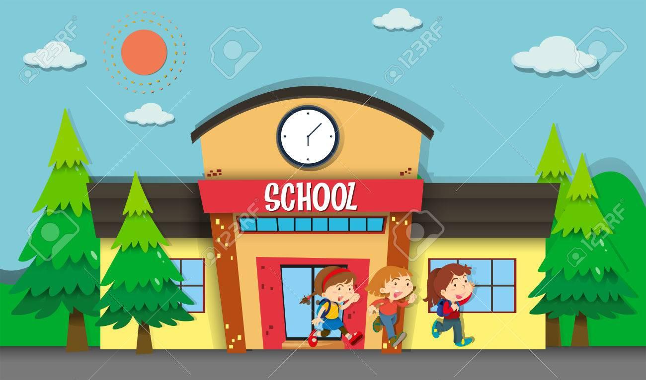 Children leaving school in evening illustration.