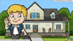 A Boy Leaving For The Airport and A House With Big Front Porch Background.