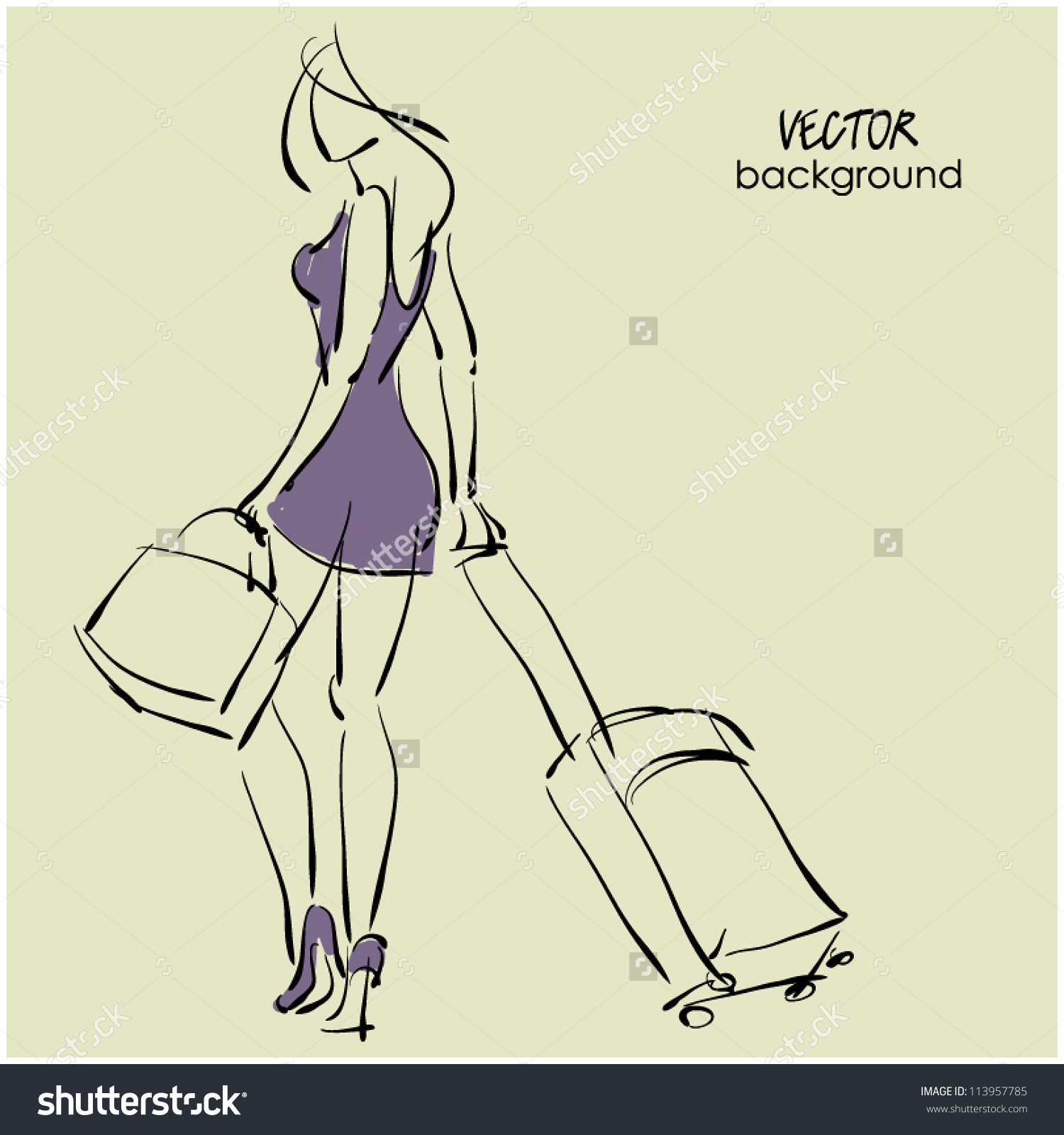 Art Sketching Beautiful Young Travel Woman Stock Vector 113957785.