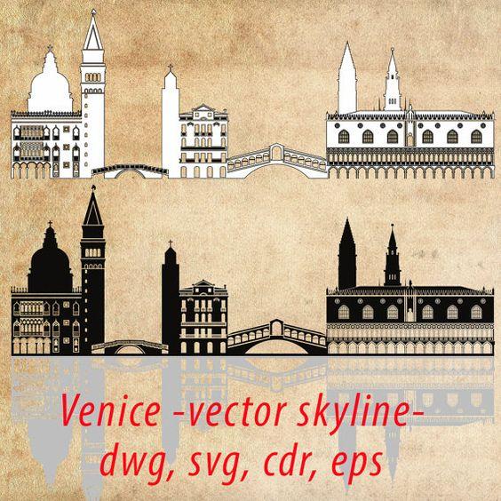 Venice SVG, Venice Clipart City Silhouette, Venice Skyline Vector.