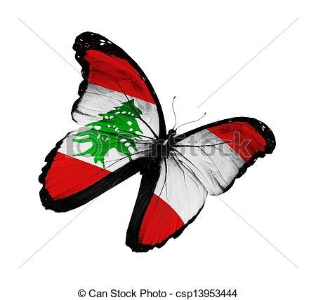 Clip Art of Lebanese flag butterfly flying, isolated on white.