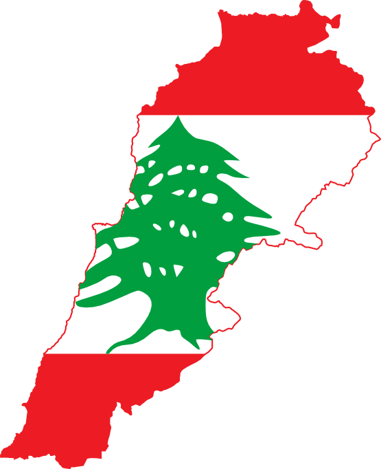 Clip Art: Flag Map of Lebanon Drapeau Bandiera.