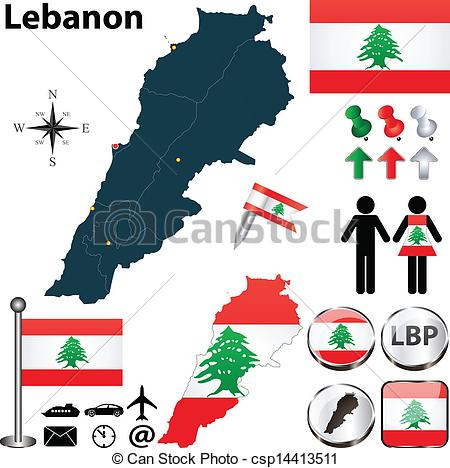 Vector Clip Art of Map of Lebanon.