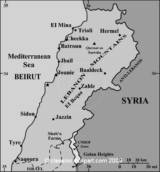 Gray Scale Maps : Lebanon_map_16RGR : Classroom Clipart.