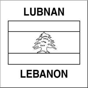 Clip Art: Flags: Lebanon B&W.