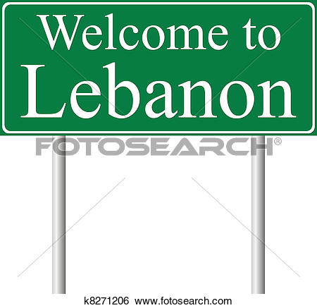 Clip Art of Welcome to Lebanon, concept road sign k8271206.