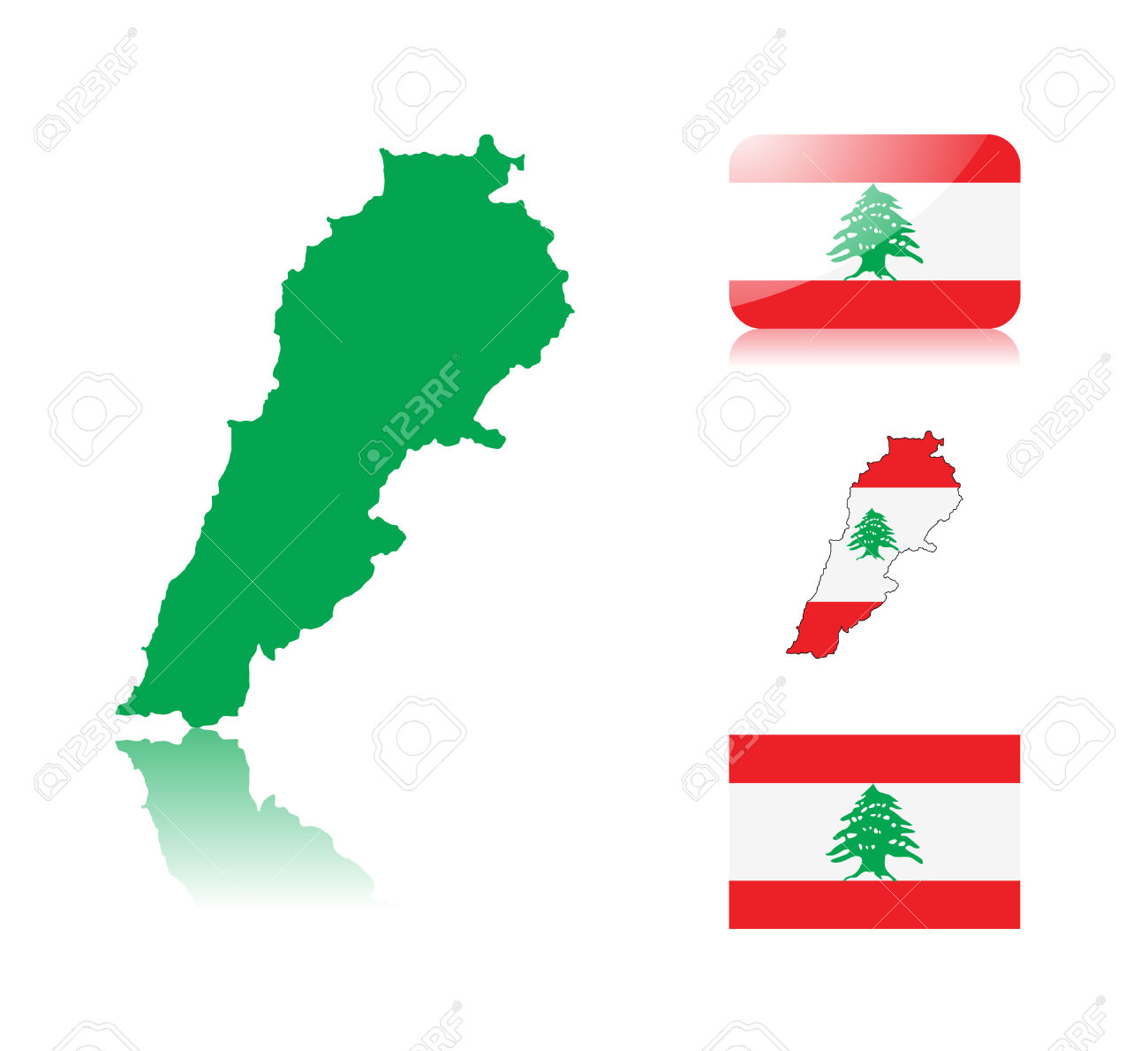 Lebanese Map Including: Map With Reflection, Map In Flag Colors.