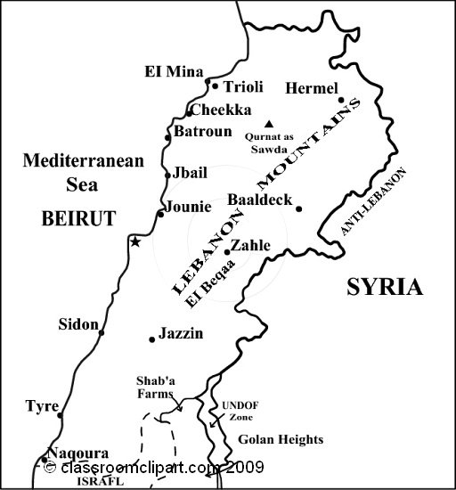 Lebanon Black And White Clipart.