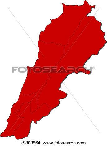Clipart of Map of Lebanon k9803864.