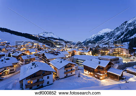 Stock Photo of Austria, Vorarlberg, View of lech am arlberg at.