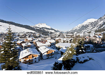 Stock Photography of Austria, Vorarlberg, View of lech am arlberg.