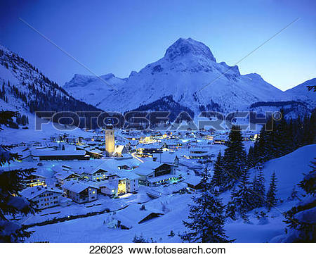 Stock Photo of Aerial view of village on snow.