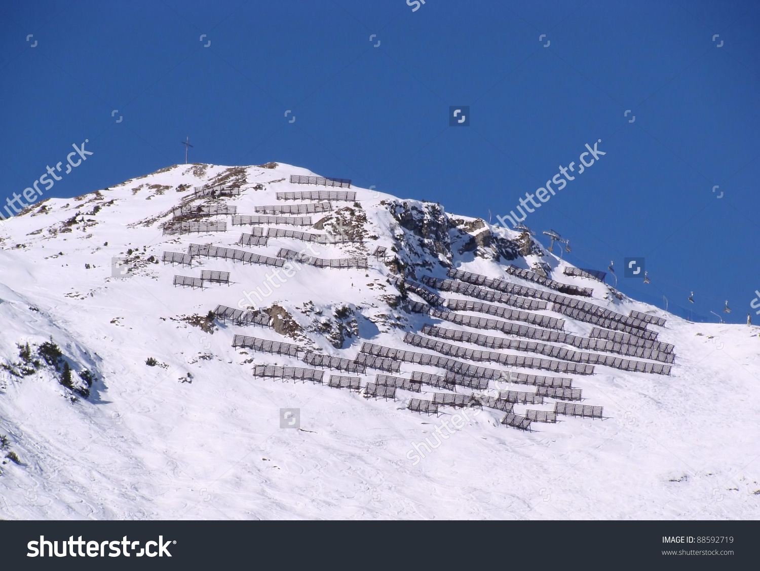 Avalanche Protection Austrian Alps Ski Resort Stock Photo 88592719.
