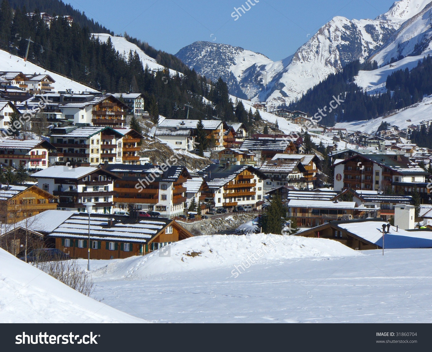 Village Lech Austria Stock Photo 31860704.