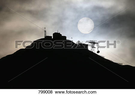 Pictures of Silhouette of a ski resort at dawn, Lech, Austria.