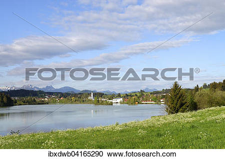 Stock Photography of Lechstausee Urspring, dam, in front of the.