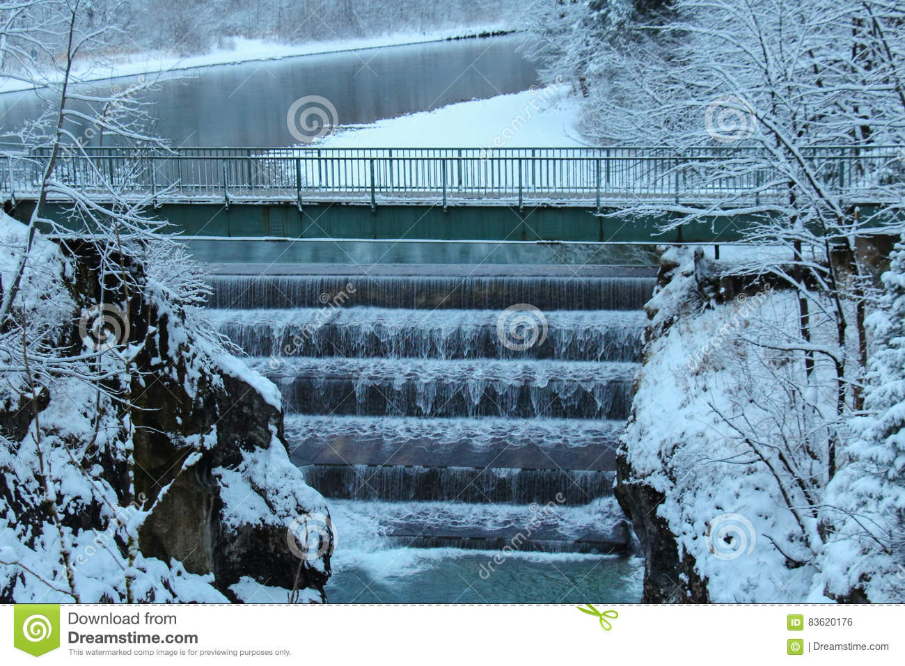 Lechfall In Winter Time. Fussen. Germany. Stock Photo.