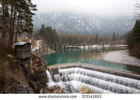 Lechfall Waterfall Near Fussen, Germany. Stock Photo 372141853.