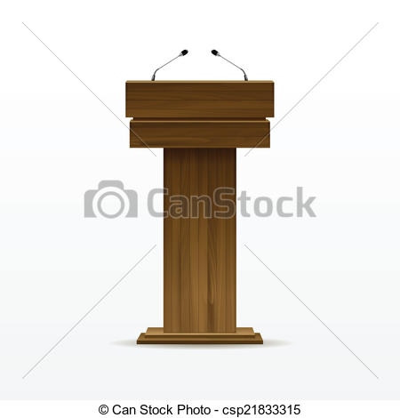 Vector Clip Art of Wood Podium Tribune Rostrum Stand with.