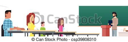 Vector Clip Art of University Professor Lecture Speech Teacher.