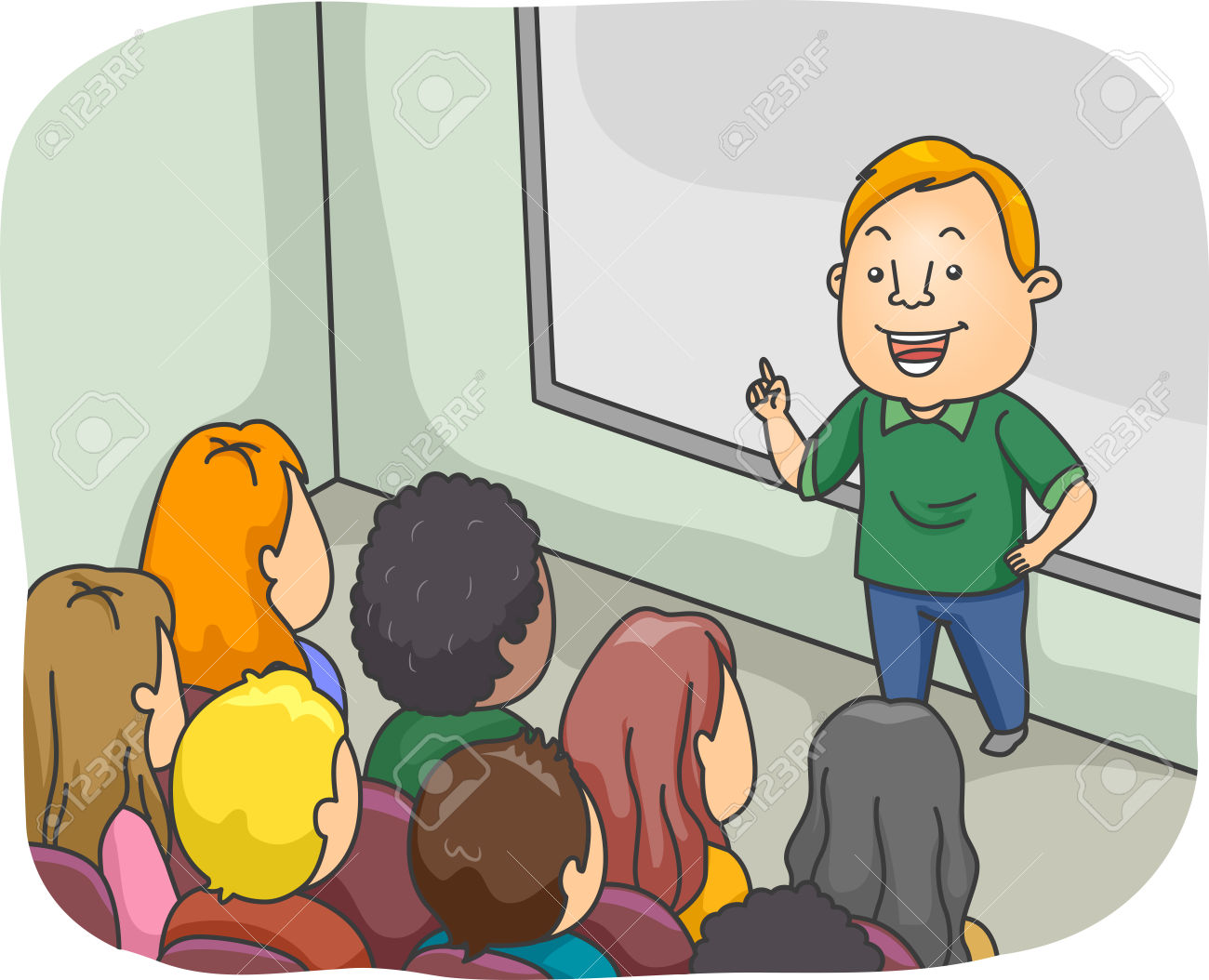 Illustration Of A Male Class Instructor Delivering A Lecture.