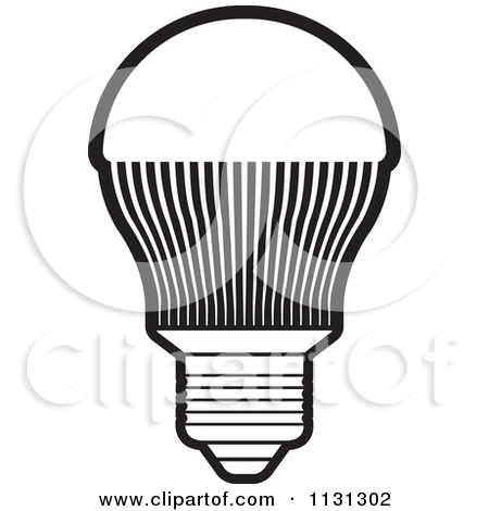 Light Bulb Clip Art Black And White Vintage.