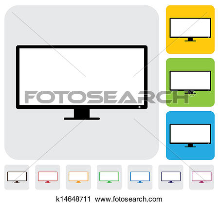 Clipart of LCD or LED flat TV(television) screen.