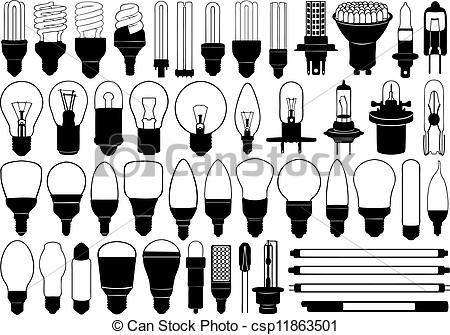 LED Tube Light Bulbs Clip Art.
