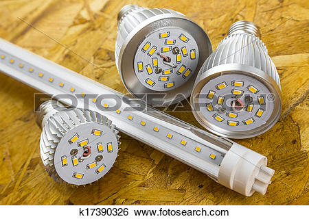 Stock Images of T8 LED tube and various chilled E27 bulbs.