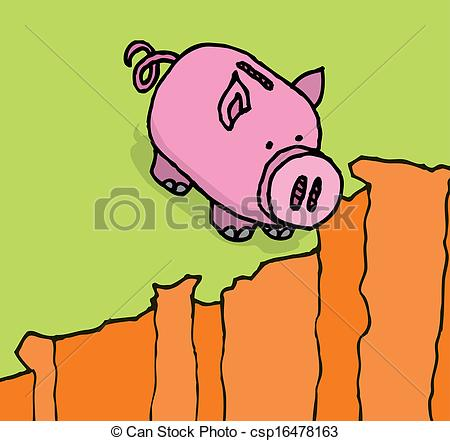 Clip Art Vector of Piggy bank looking down the pit.