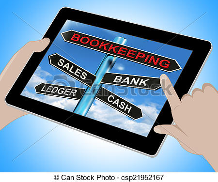 Stock Image of Bookkeeping Tablet Means Sales Ledger Bank And Cash.