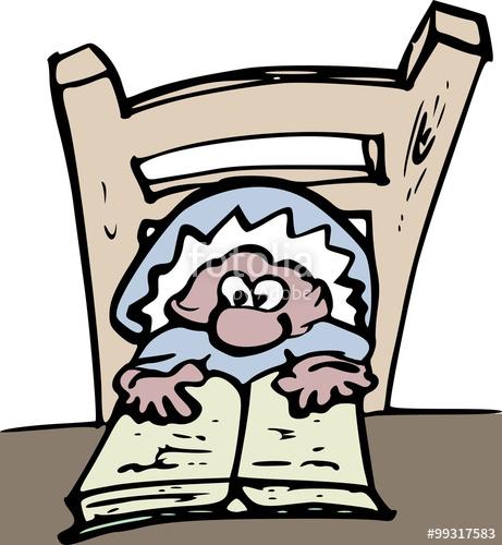 """Illustratie van een mannetje dat een boek leest"""" Stock photo and."""