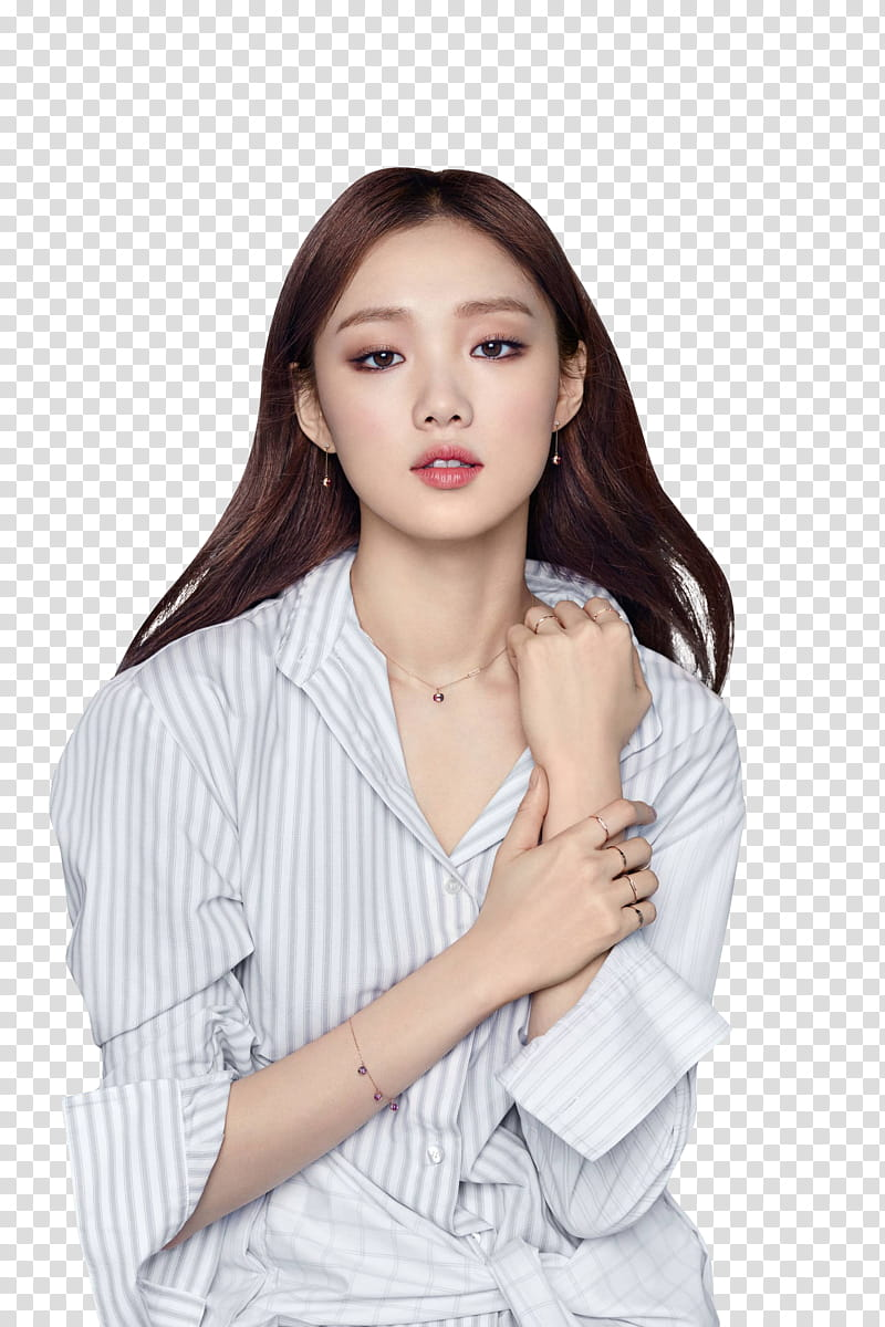 LEE SUNG KYUNG , woman wearing gray striped blouse.